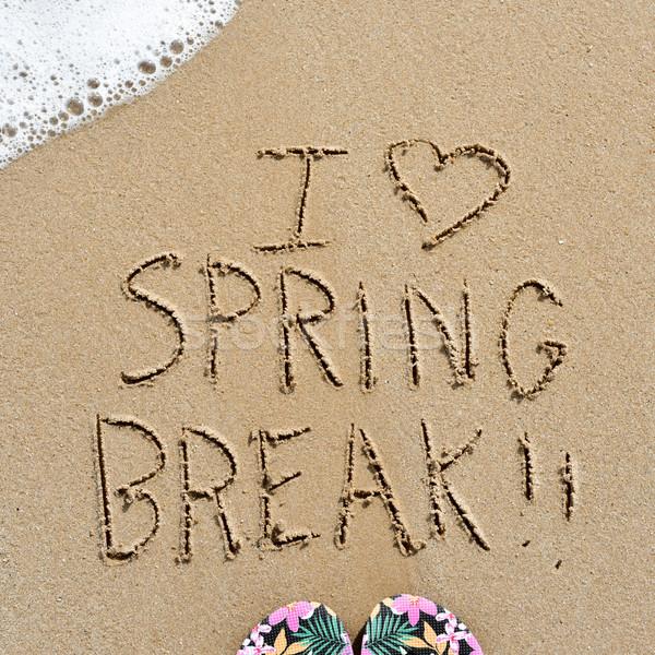 Szöveg szeretet tavaszi szünet homok közelkép írott Stock fotó © nito