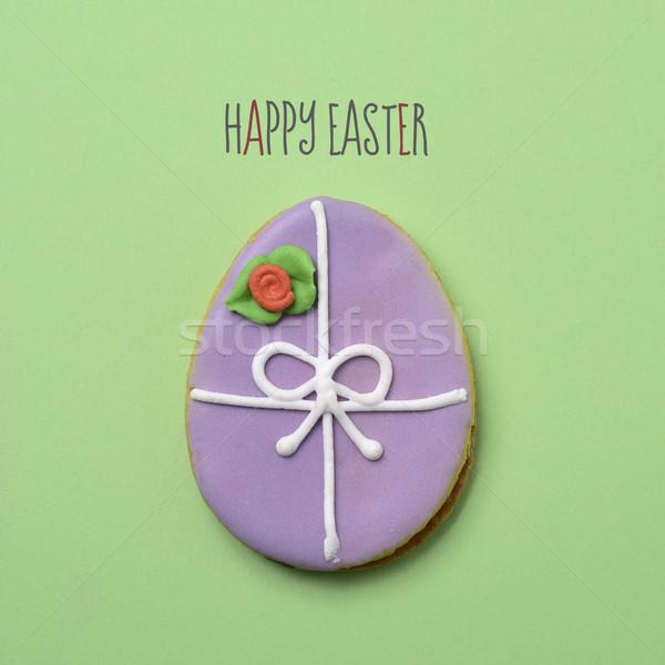 текста Христос воскрес украшенный яйцо Cookie пасхальное яйцо Сток-фото © nito