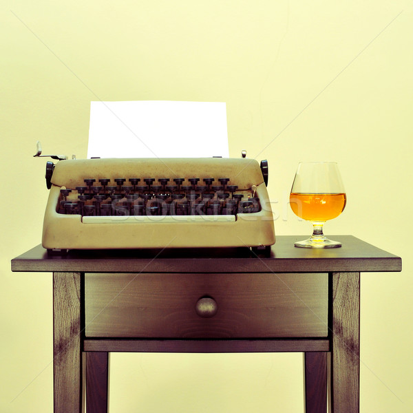 old typewriter and liquor Stock photo © nito