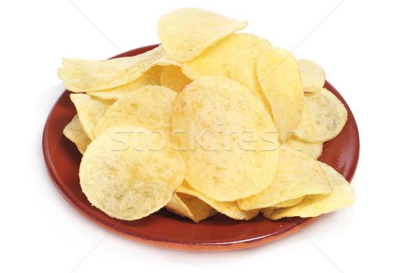 Batatas fritas prato branco bar jantar gordura Foto stock © nito