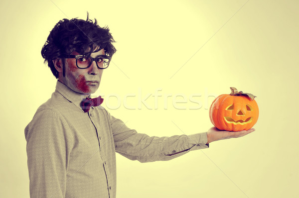 hipster zombie with a jack-o-lantern, with a retro effect Stock photo © nito