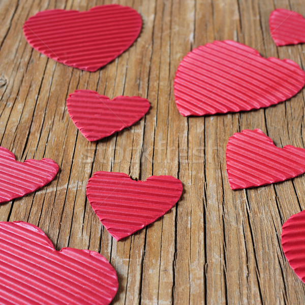 red hearts on a rustic wooden surface Stock photo © nito