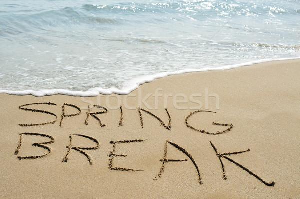 Tavaszi szünet tengerpart szöveg írott homok húsvét Stock fotó © nito