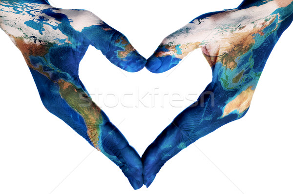hands forming a heart patterned with a world map (furnished by N Stock photo © nito