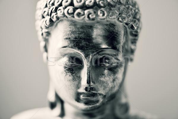 Buddha közelkép arc terv fekete-fehér ima Stock fotó © nito