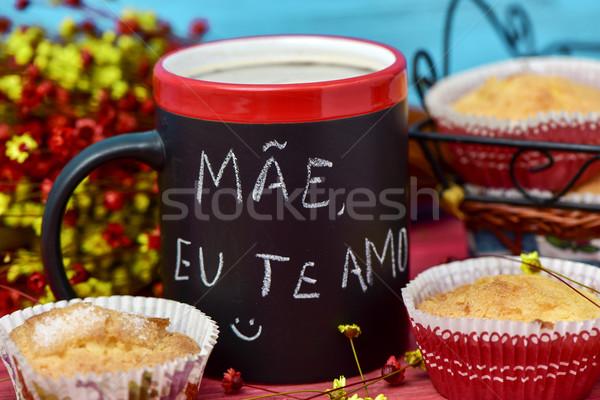 text mae eu te amo, I love you mom in portuguese Stock photo © nito