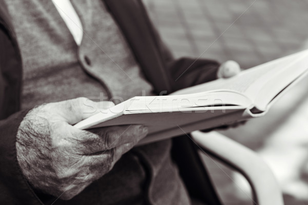 old man reading a book, in black and white Stock photo © nito