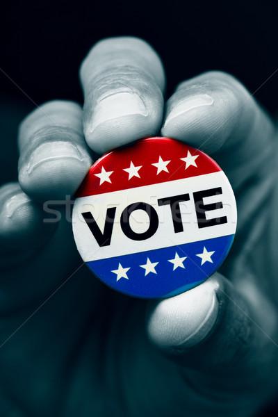Kitűző Egyesült Államok választás közelkép kéz férfi Stock fotó © nito