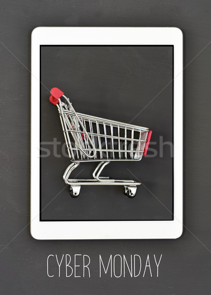 Texto cesta de la compra tableta tiro Screen Foto stock © nito