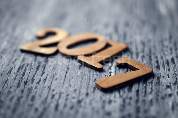 Număr anul nou numere rustic gri Imagine de stoc © nito
