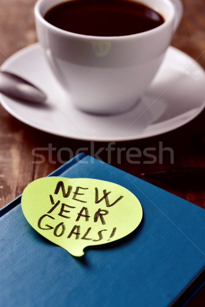brekafast and text new year goals Stock photo © nito
