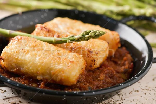bacalao a la vizcaina, a typical spanish recipe of codfish Stock photo © nito