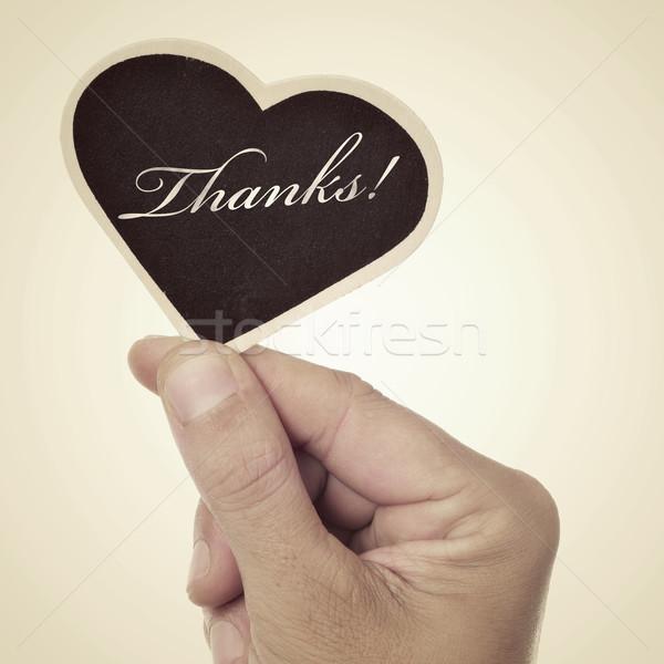 Teşekkürler resim adam el tahta Stok fotoğraf © nito
