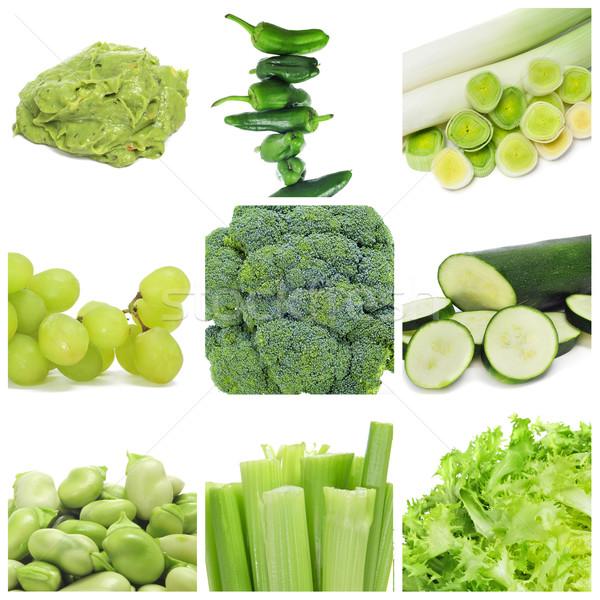Stockfoto: Groene · voedsel · collage · negen · verschillend · paprika