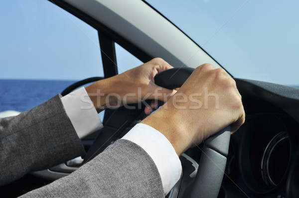 man in suit driving a car Stock photo © nito