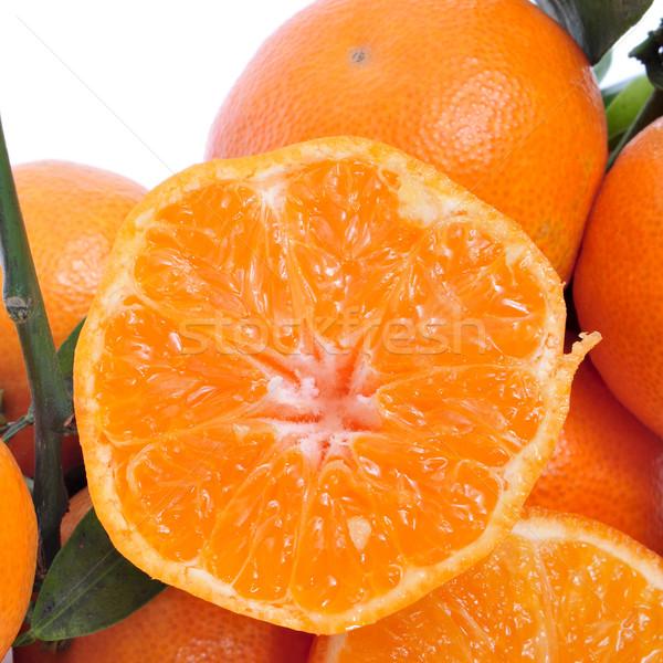 Sinaasappelen gesneden vruchten achtergrond kleur Stockfoto © nito