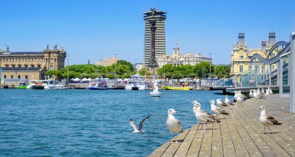 Stock fotó: Kikötő · Barcelona · Spanyolország · panorámakép · kilátás · alsó