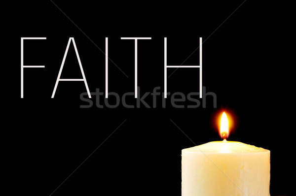 a lit candle and the word faith Stock photo © nito