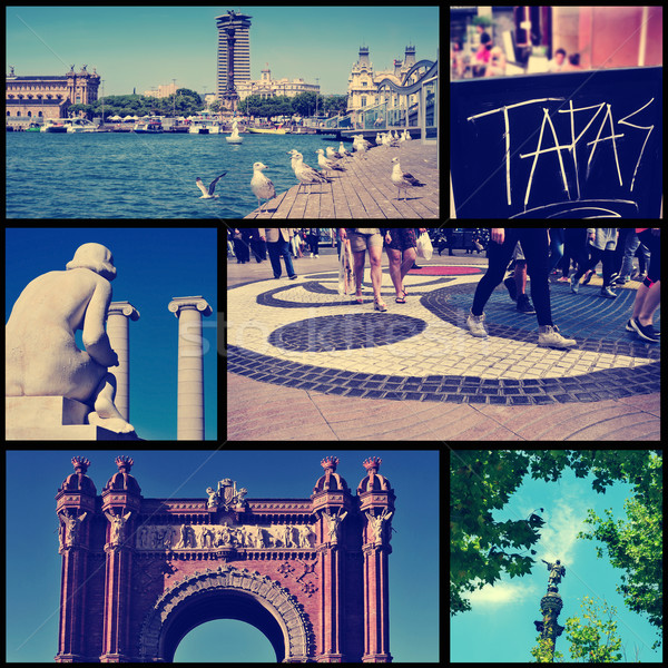 collage of different landmarks in Barcelona, Spain, cross proces Stock photo © nito
