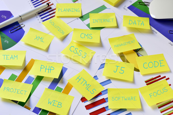 sticky notes with internet concepts, such as web or HTML5 Stock photo © nito