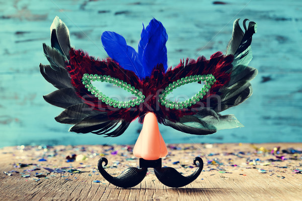 Stockfoto: Carnaval · masker · namaak · neus · snor · veren