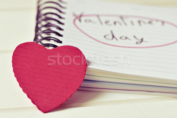 red heart and text valentines day in a notebook, filtered Stock photo © nito