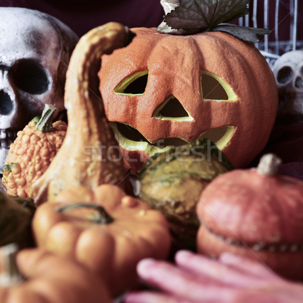 pumpkins and skull for Halloween Stock photo © nito