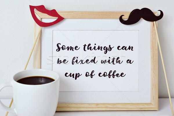 Dolgok konzerv fix csésze kávé kép Stock fotó © nito