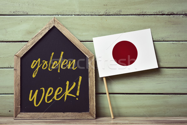 text golden week and japanese flag Stock photo © nito