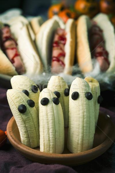 Stockfoto: Grappig · halloween · voedsel · rustiek · tabel