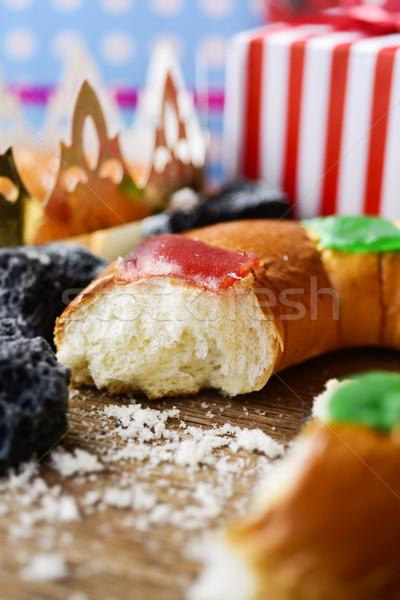 Spanyol három királyok torta közelkép hagyományos nap Stock fotó © nito