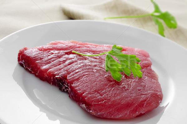Crudo atún filete primer plano placa alimentos Foto stock © nito