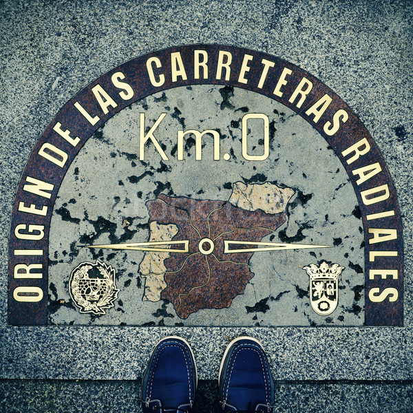 Kilometre Zero point in Puerta del Sol, Madrid, Spain, with a re Stock photo © nito