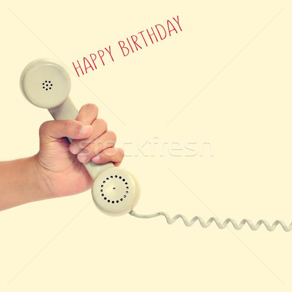 Photo stock: Rétro · téléphone · texte · joyeux · anniversaire · main