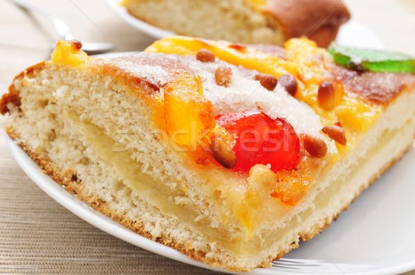 coca de Sant Joan, typical sweet flat cake from Catalonia, Spain Stock photo © nito