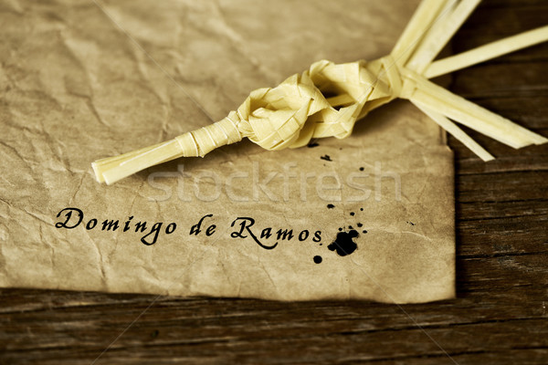 braided palm and text Domingo de Ramos, Palm Sunday in spanish Stock photo © nito