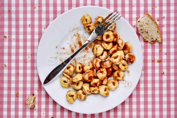 пасты блюдо выстрел пластина Пельмени соус болоньезе Сток-фото © nito