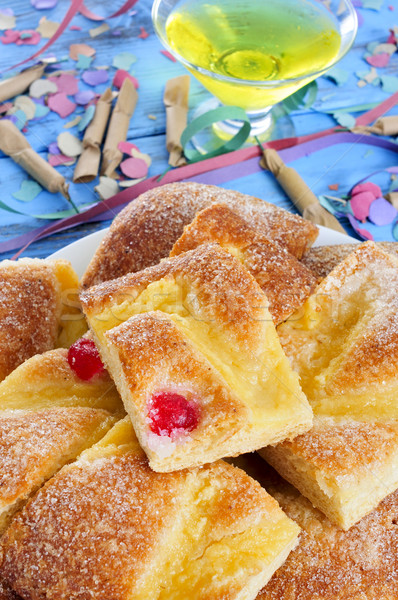 coca de Sant Joan, typical sweet flat cake from Catalonia, Spain Stock photo © nito