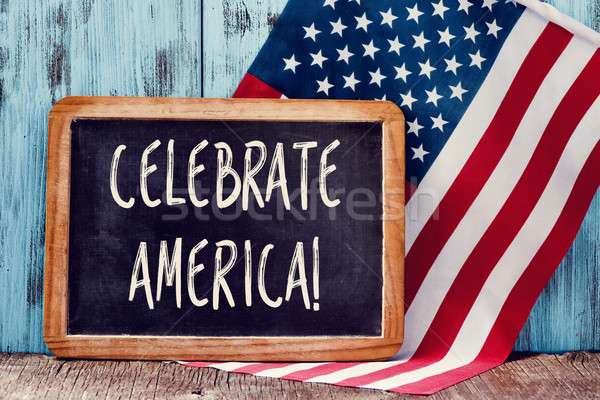 text celebrate America and American flag Stock photo © nito