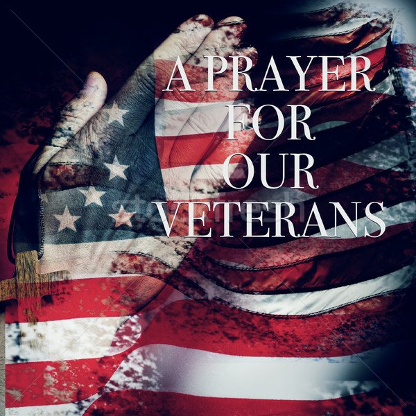 text a prayer for our veterans and the flag of the US Stock photo © nito