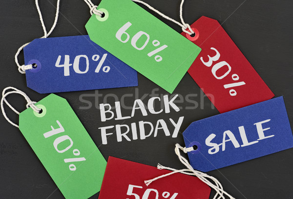 text black friday and labels with different percentages Stock photo © nito