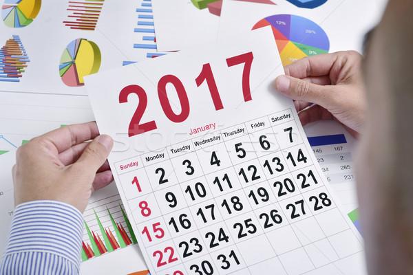 Jonge zakenman kalender kaukasisch vol Stockfoto © nito