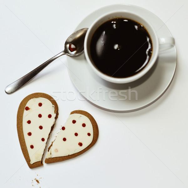 Koffie cookie shot witte keramische beker Stockfoto © nito