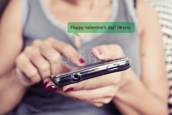 happy valentines day in a text message Stock photo © nito