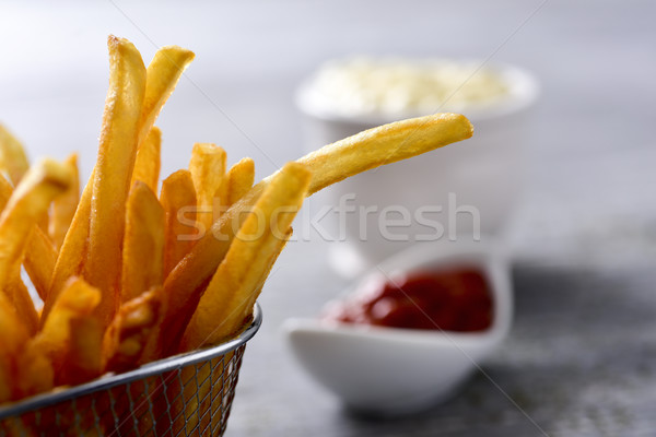 Patates kızartması mayonez ketçap iştah açıcı hizmet Stok fotoğraf © nito