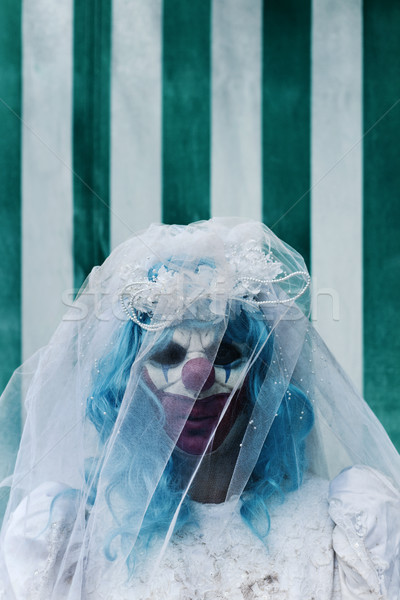 scary evil clown in a bride dress in the circus Stock photo © nito