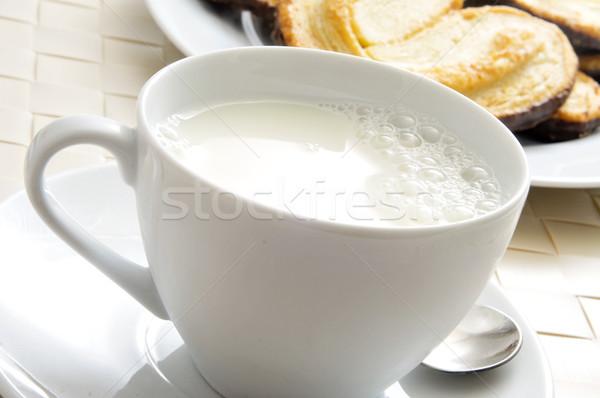 Pequeno-almoço continental copo leite prato Foto stock © nito