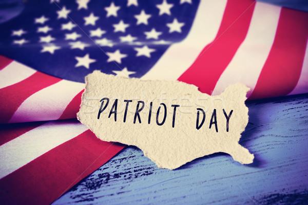 Banderą Stany Zjednoczone tekst patriota dzień kawałek Zdjęcia stock © nito
