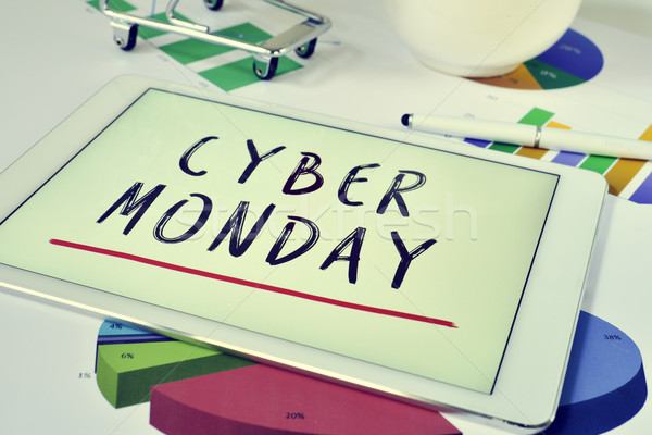 text cyber monday in a tablet and a shopping cart Stock photo © nito