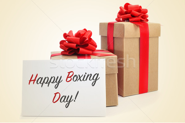 gifts and signboard with text happy boxing day Stock photo © nito